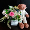Детская цветочная композиция с медвежонком